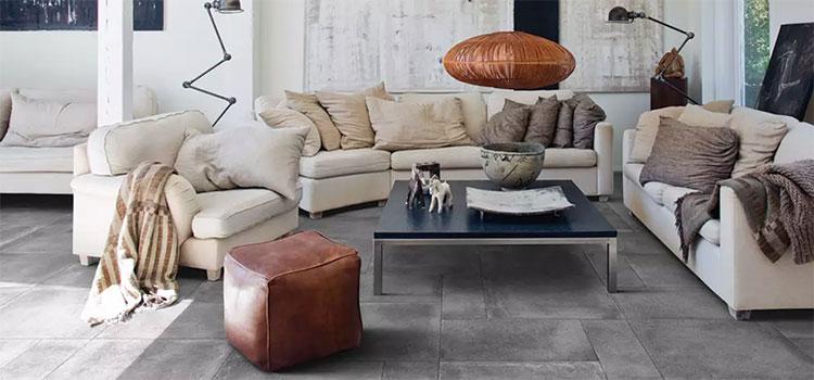 Carrelage gris dans un salon moderne