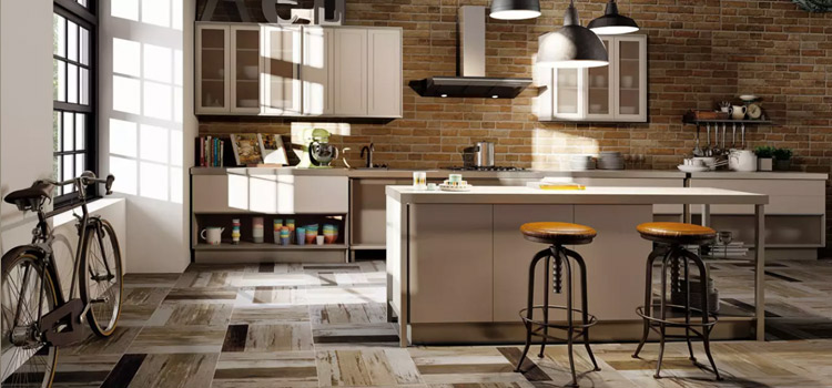 Carrelage imitation brique dans cuisine