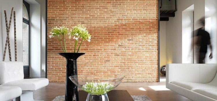Carrelage imitation brique dans salon