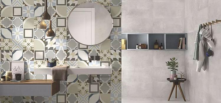 Salle de bains design avec carrelage mural