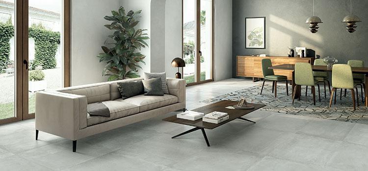 Salon avec dalles de carrelage gris