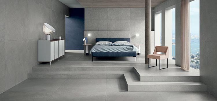 Chambre avec carreaux gris
