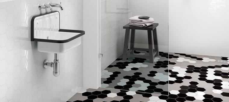 Le carrelage hexagonal envahit nos maisons blog carrelage for Carrelage hexagonal noir et blanc