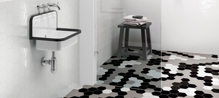 le carrelage hexagonal envahit nos maisons blog carrelage. Black Bedroom Furniture Sets. Home Design Ideas