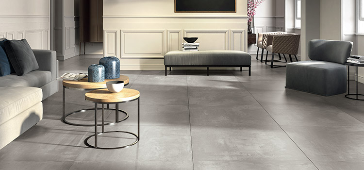 Carrelage gris clair salon moderne