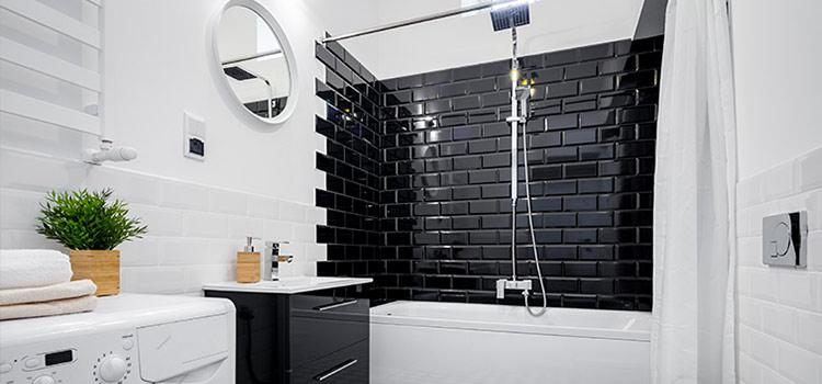 carrelage métro noir salle de bains design
