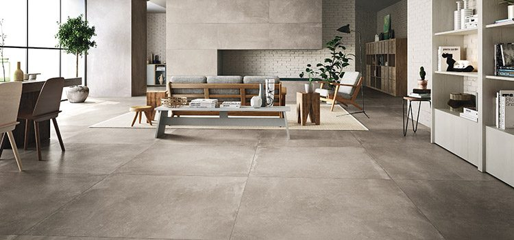 Carrelage XXL taupe grand salon design
