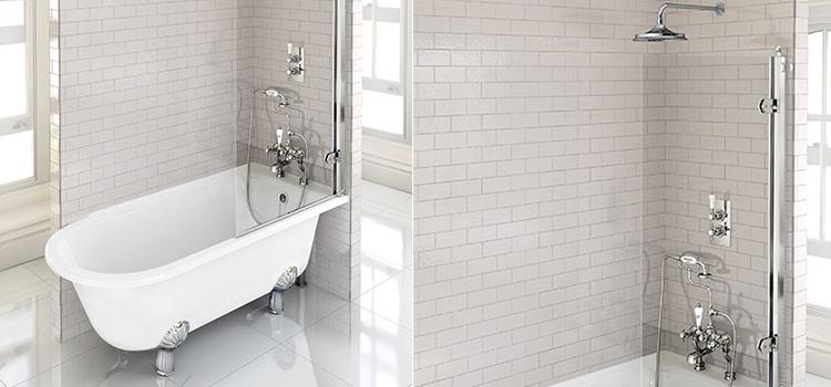 carrelage métro blanc salle de bains avec douche