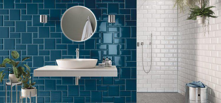 carrelage métro bleu dans salle de bains