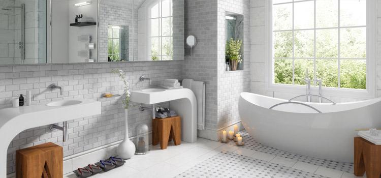 Carrelage métro blanc dans salle de bains moderne