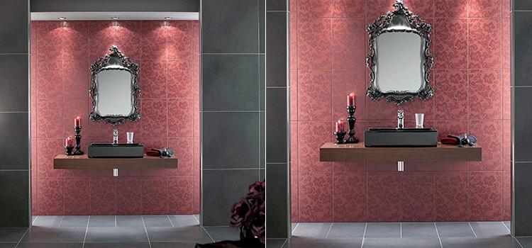 Stickers style victorien sur carrelage de salle de bains
