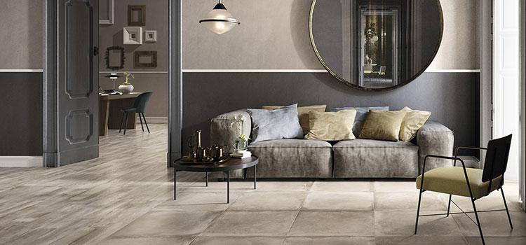 Salon moderne avec carrelage à grands carreaux et parquet