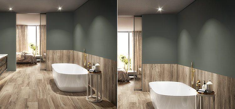 Salle de bains design avec revêtement mural en bois et peinture