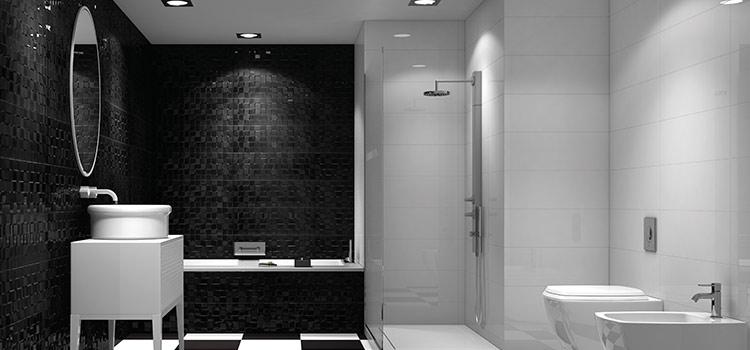 Un pan mural en zelliges donne de l'élégance à cette salle de bains moderne.