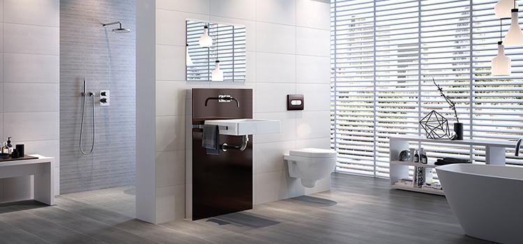 Salle de bain design à l'entretien facile grâce au carrelage effet bois