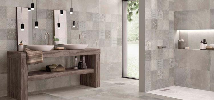 Salle de bain aux teintes naturelles avec carreaux de ciment