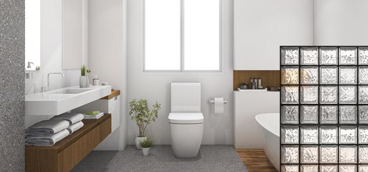 salle de bains moderne avec muret en brique de verre