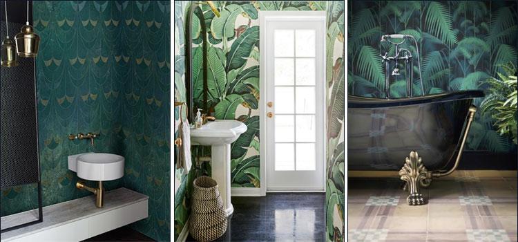 Papier peint salle de bains imprimé jungle