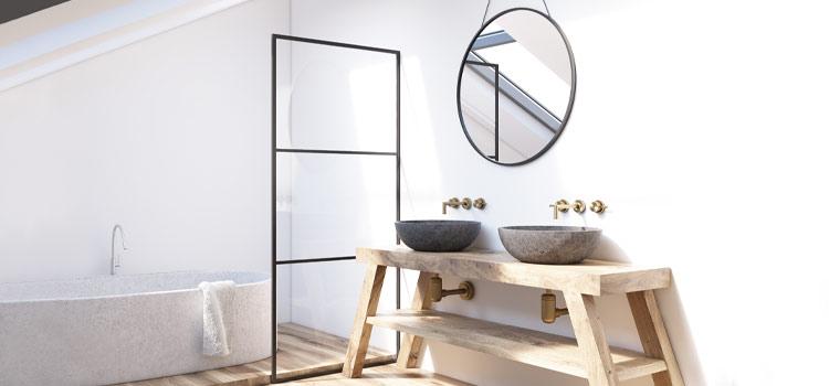 Vasque en terrazzo dans salle de bains