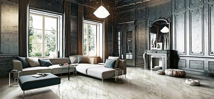 Grand salon moderne avec carrelage haut de gamme
