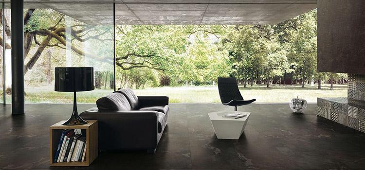 Salon design avec carrelage de luxe