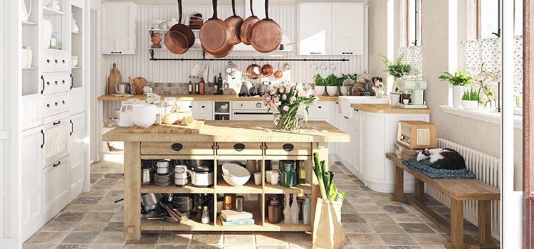 Carrelage façon vieille pierre dans une cuisine