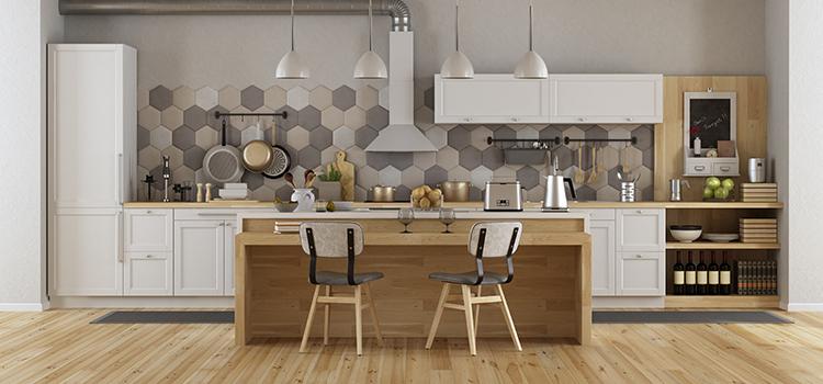 Carrelage imitation bois pour cuisine rétro