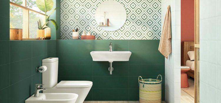 Carrelage vert dans salle de bains