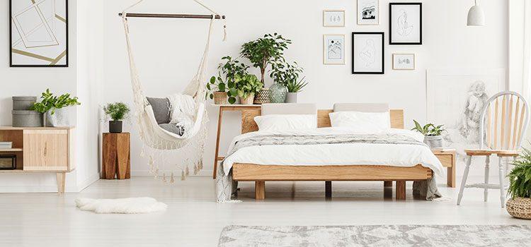 Chambre style bohème avec carrelage imitation bois blanc