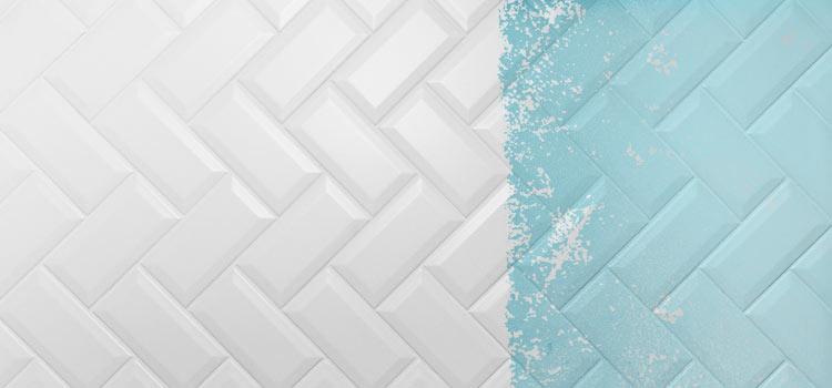 représentation d'une surface carrelée avec un côté blanc et un côté recouvert de peinture