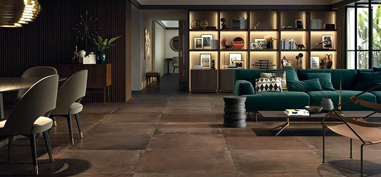 visuel d'ambiance d'un salon avec carrelage au sol