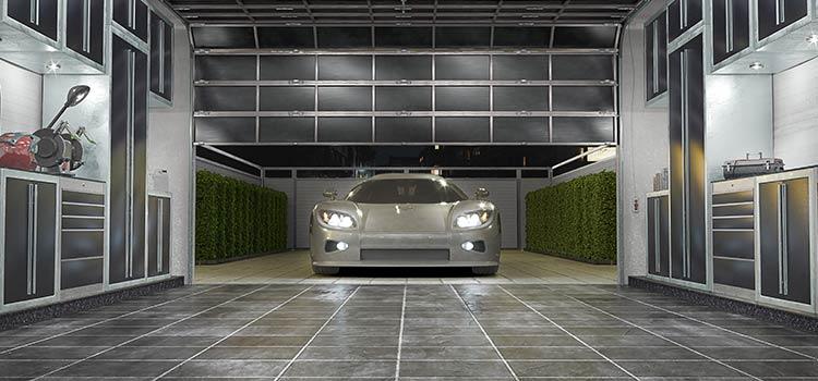 carrelage gris dans le garage avec une voiture du sport qui se gare