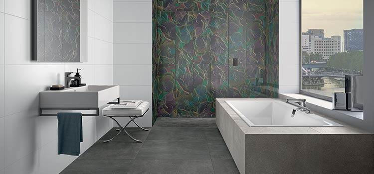 carrelage rockyart mis en valeur dans une salle de bains