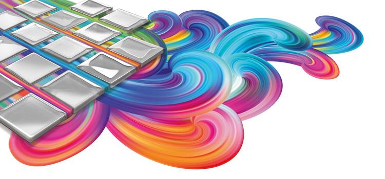illustration de marques de peintures multicolores sous des carreaux de carrelage