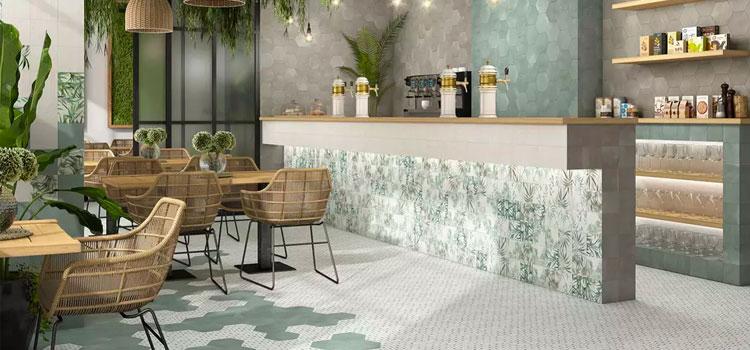 visuel d'un bar restaurant avec un carrelage au sol de forme hexagonale
