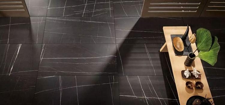 carrelage sol effet marbre noir