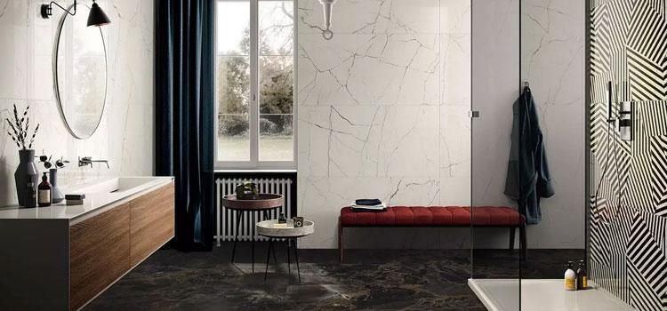 carrelage salle de bains effet marbre