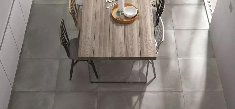 carrelage effet ciment installé dans la cuisine