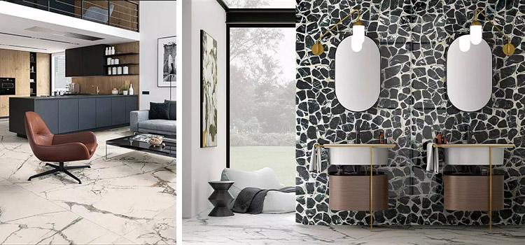 carrelage effet marbre exposé dans un salon et une salle de bains