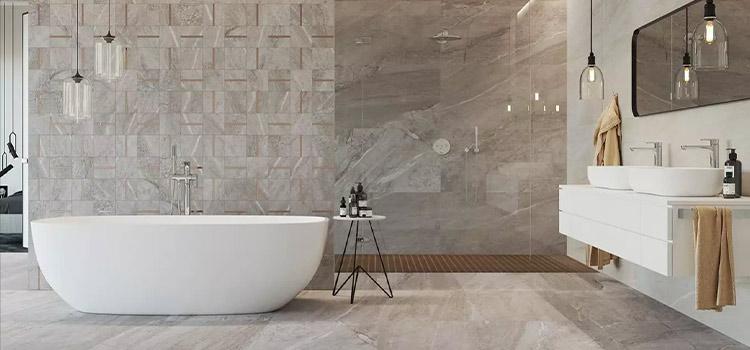 carrelage imitation marbre dans une salle de bain