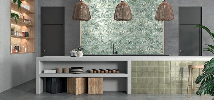 carrelage de couleur verte installé dans la cuisine