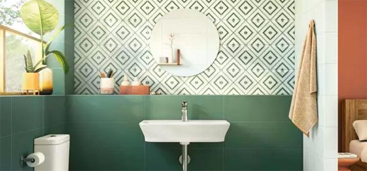 salle de bains de couleur verte