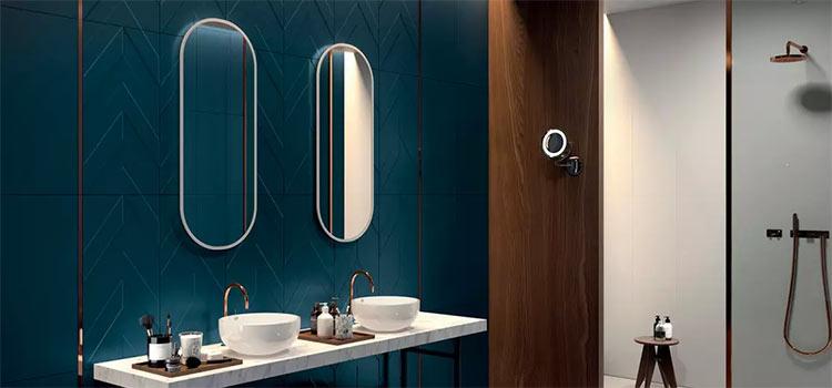 salle de bains de couleur bleue avec double miroir mural et double vasque