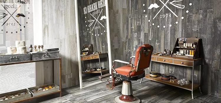 carrelage gris dans un salon de coiffure