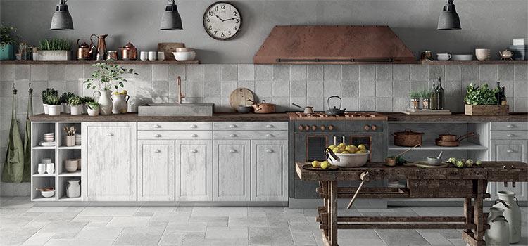 carrelage aux teintes grises dans la cuisine