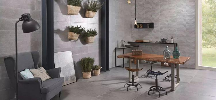 carrelage mosaïque gris installé dans un salon style moderne