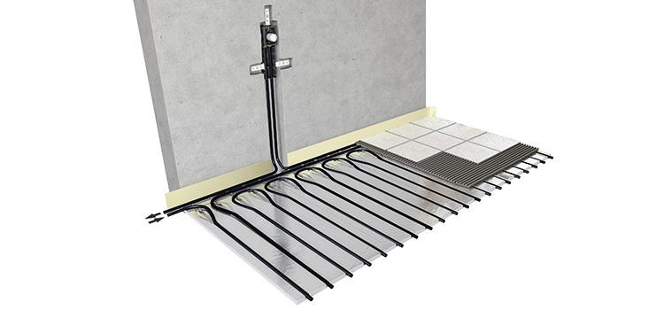 illustration schématique du plancher chauffant sous un carrelage