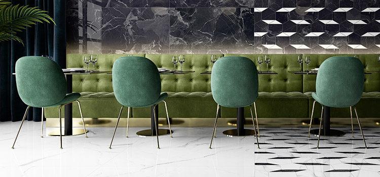 carrelage effet marbre installé dans une salle de restaurant