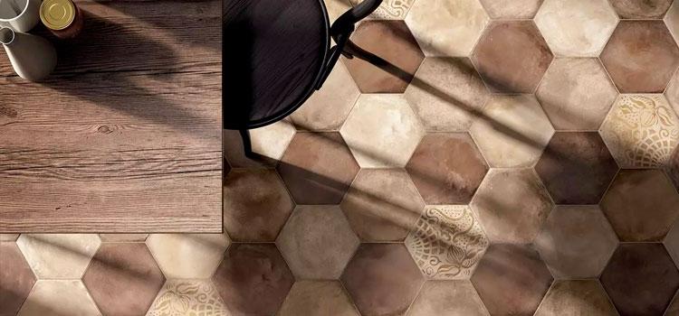 carrelage hexagonal couleur terrazzo