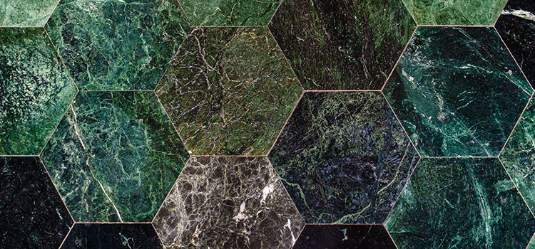 carrelage hexagonal dans des teintes de couleurs vertes
